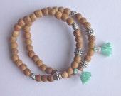 tassel bracelet, beach bohemian jewelry, sandalwood jewellery, boho bracelet, bohemian jewellery, beach accessory