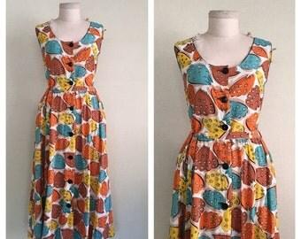 20% SALE Diamond Dancer dress // 1940s novelty print dress // 50s vintage cotton sun dress // m-l