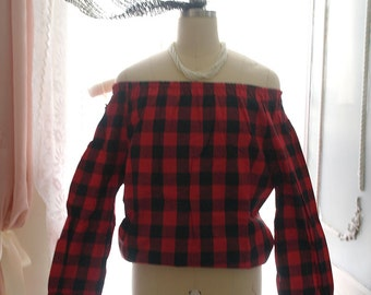 SUMMER SALE  Black and Red Check Plaid Off Shoulder Long Sleeves Woman Top Blouse Goth Gothic Steampunk