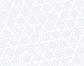 ON SALE -  Mini Pearl Bracelets in White on White - Lizzy House for Andover Fabrics - A-7829-C1 - 1/2 Yard