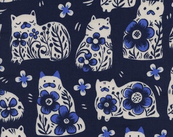 From Porto With Love - Sushi's Antiques in Navy - Sarah Watts for Cotton + Steel - 2032-01 - 1/2 Yard