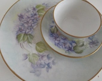 Vintage Hand Painted Limoges, Dinner Plate, Cup & Saucer, French Lilacs, Signed By Artist, Shabby Chic, Circa 1920
