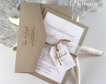 Wedding Invitations, Beach Wedding, Starfish Wedding, Rustic Beach, Destination Wedding Invitations