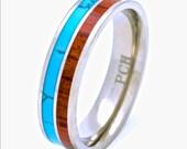 Titanium Wedding Ring with Hawaiian Koa Wood and Turquoise Inlay 6mm Comfort Fit