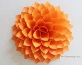 paper dahlia . 10 1/8'' dahlia wall decor . wedding flower . origami gifts . nursery wall decor . dahlia flower wreath -neon orange
