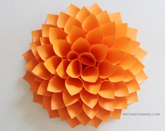 paper dahlia . 10 1/8'' dahlia wall decor . wedding flower . origami gifts . nursery wall decor . dahlia flower wreath -neon orange