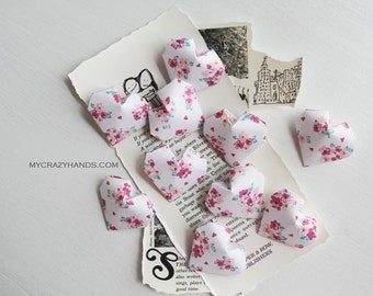 15 origami hearts . 3D paper hearts . table decorations . wedding hearts . gift for her {heart like a balloon} -floral bunches