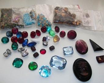 Large Lot Loose Vintage Chaton Rhinestones Glass Cameo Intaglio Austrian Swarovski Crystal NOS