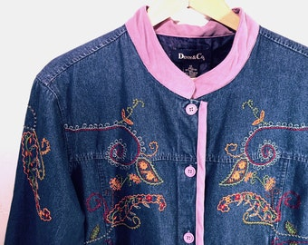 Blue Denim Jacket by Denim & Co., Embroidery and Lavender Trim, Women's size 1X