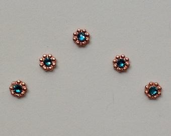 Blue Zircon & Bright Copper Accent Bindis