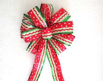 Red Bow / Christmas Bow / Tree Topper Bow / Wreath Bow / Red Bow / Tree Topper