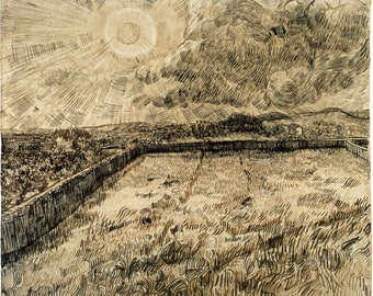 Van Gogh Reproduction.  Sun above the Walled Wheartfield, 1889 by Vincent van Gogh, Fine Art Print.