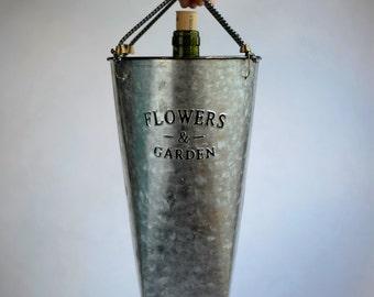 """Galvanized 'Flowers & Garden"""" Wine Tote"""