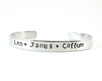 Personalized Name Bracelet, Mommy Bracelet, Aluminum Bracelet, Secret Message Cuff, Hand Stamped Name Cuff, Customize Jewelry Gift for Mom