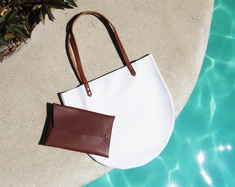 White HALF MOON TOTE | All Leather Crescent Tote | Minimal Tote Bag | Leather Tote