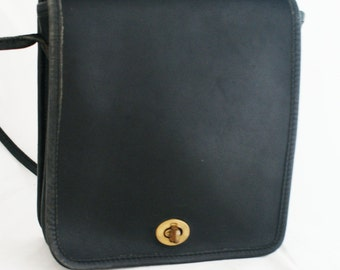 Purse - Small Square Shaped Black Leather COACH short strap bag