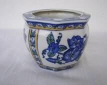 Blue, white, yellow, vintage Chinese planter, hexagonal ceramic oriental glazed pot planter