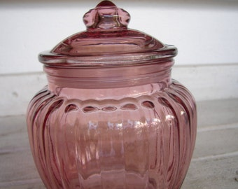 French shabby chic, vintage pink ribbed glass storage jar with lid, sweets, cotton, dry foods,5.5'' h.