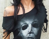 Halloween Michael Meyers Shredded Shirt Sexy Ripped Destroyed HORROR