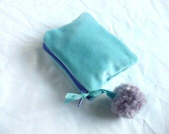 Turquoise velvet purse - cotton velvet pouch - hand made pom pom purse - velvet purse with pom pom - velvet mini purse