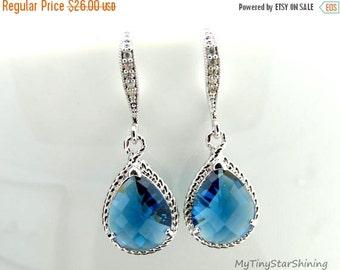 VALENTINE SALE Blue Sapphire Earrings Wedding Jewelry Bridal Earrings Bridesmaid Gift Blue Earrings Teardrop Earrings Blue Jewelry Dangle Ea