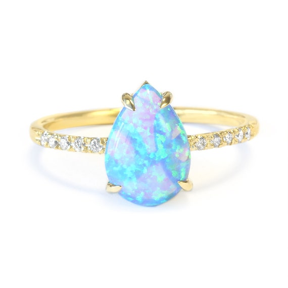 Pear Shaped Opal Diamond Engagement Ring 14k By