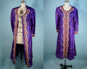 Vintage Heavily Beaded Silk Bohemian Ethnic Overcoat Robe/ Indian Wedding Embroidered Salwar Coat Dress Kimono/ Royal Purple Bollywood Top