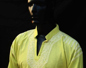Mens kurta tunic salwar kameez in Pistachio green dress summer trends unique gift items for Dad Anniversary gift for him pure cotton top