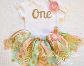 "4 PIECE- adding on ""One"" bib, Pink, Mint and Gold Fabric tutu outfit~ First Birthday tutu set~ Mint Gold Birthday~ Birthday~ baby girl"