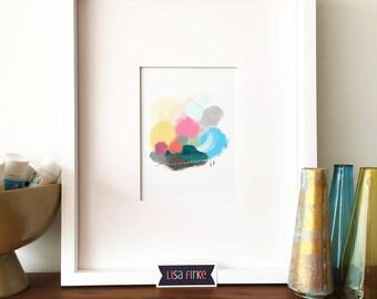 Summery abstract landscape art print (tiny size)