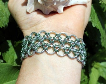 Japanese Lace Chainmaille Bracelet, Mint Green and Shiny Silver, Chain Maille, Metal Lace, Mail, Durable