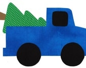 Iron on bringing home the Christmas tree truck applique DIY