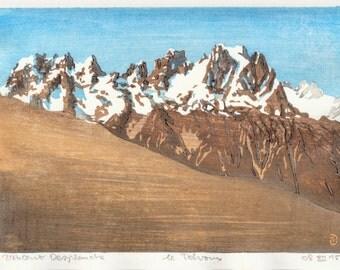 Les Ecrins - hand pulled moku hanga woodblock print