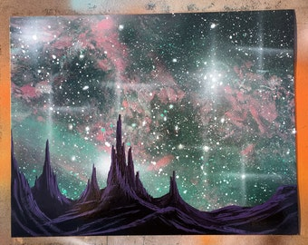 "Nebula Pastel  - 11"" X 14"" Spray Paint on posterboard by Markus Fussell"