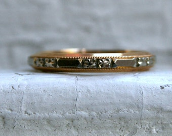 Vintage 14K Yellow and White Gold Floral Eternity Band.
