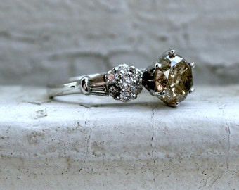 RESERVED - Fantastic Vintage 18K White Gold Champagne Diamond Engagement Ring - 1.58ct.
