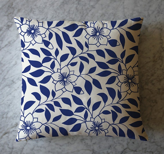 Pillow with Blue and White China Pattern. May 9, 2016