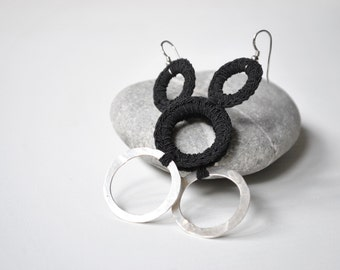 Statement hoop earrings, handmade sterling silver, crochet hoop, hoop earrings, black and silver, Ooak