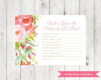 Whimsical Baby Shower Know the Mom Game | Printable Baby Shower Game | Floral Party Game