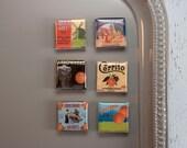 Vintage Style Orange Label Magnets (Set of Six)