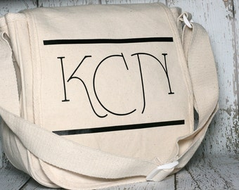 Personalized Messenger Bag / Monogrammed Canvas Bag