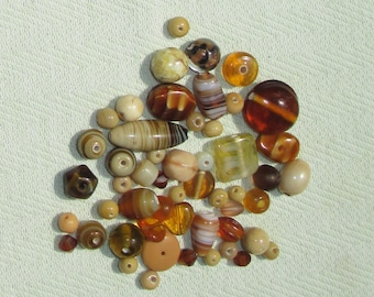 Brown and Tan Glass Bead Soup - Jewelry Making Supplies