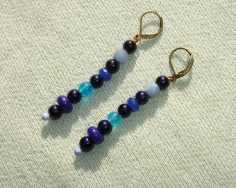Blue Gemstone & Glass Pearl Dangle Earrings - European Lever Backs