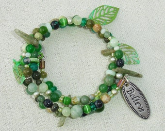 Green Tree of Life Gemstone Memory Wire Wrap Bracelet - Believe Like There's Endless Possibilities