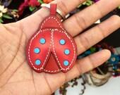 leather ladybug keychain & charm