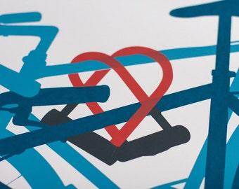 Inseparable- Artcrank Minneapolis 2014 Screen Printed Bike Poster Reprint