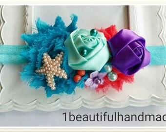 Ariel Inspired Hair Bow - Ariel Hair Bow, Ariel Starfish, Ariel Headband, Ariel Hair Clip, Baby Mermaid Props Headband, Mermaid Headband