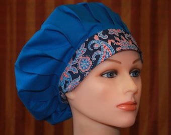 Bouffant Surgical Scrub Hat/Chef Hat--Royal Blue Midnight Paisley