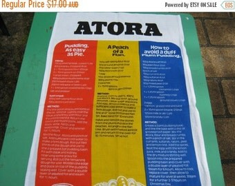 ON SALE Tea Towel Vintage Souvenir of Atora and Recipes - English