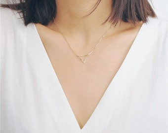 ON SALE Delicate simple everyday open triangle necklace